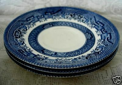 Set of 3 CHURCHILL Blue Willow Saucers - Made in England