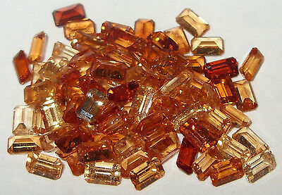 5x3mm Mixed Colors Tanzania Hessonite Garnet Emerald Cut