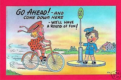Girl on Bike Kids Humor Old Comic Linen Post Card #18