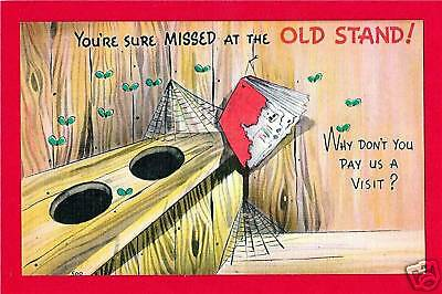 Outhouse Hillbilly Humor Old Comic Linen Post Card #27