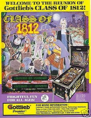 1991 Gottlieb Class Of 1812 Pinball Flyer Mint