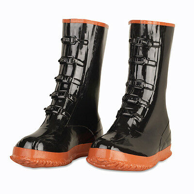 Black 5-Buckle Over Shoe Rubber Slush Boots Size 10-16 *Free US Shipping*