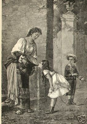Children Playing And Drinking Water From Fountain Antique Art Print Vintage 1887