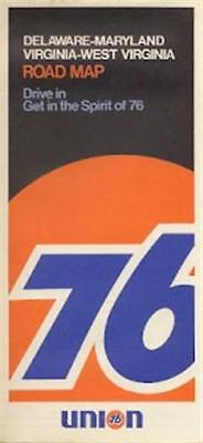 1972 UNION 76 OIL Road Map VIRGINIA MARYLAND DELAWARE
