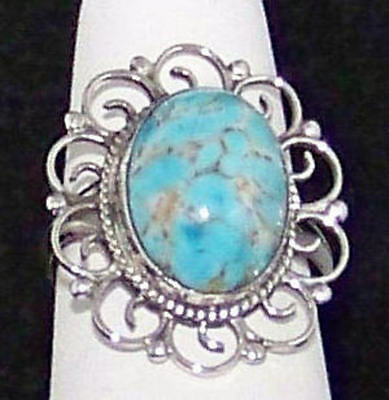 Stunning Estate Vintage Blue Marbled Art Glass Sterling Silver Ring, Size 6.5