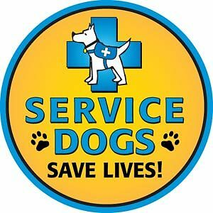 SERVICE DOGS SAVE LIVES!  circle car magnet **QUALITY**