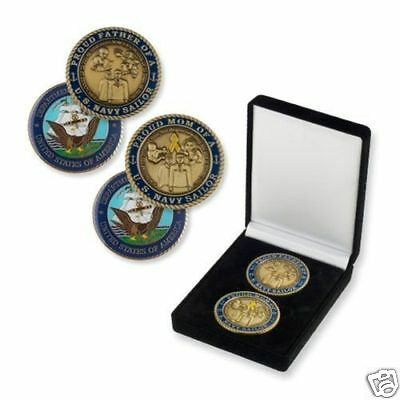 "Navy Mom And Dad 1.75"" Military Logo Challenge Coin Set In Presentation Box"