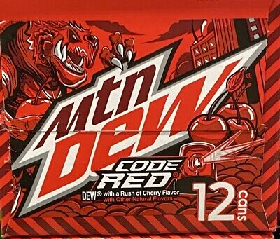 Mountain Dew Code Red Soda 12 Pack Mtn Dew