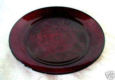 Beautiful Ruby Red Pressed Glass Serving Plate - MINT