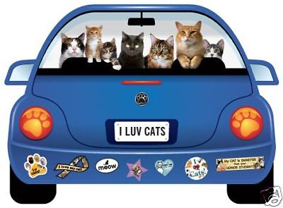 """I LUV CATS"" PupMobile Car Magnet"