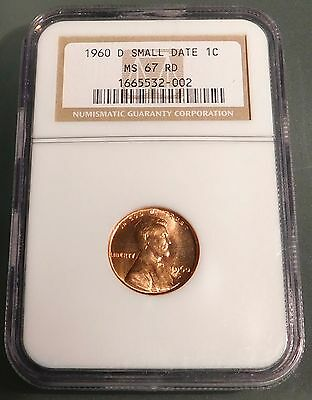 1960-D 1c small date NGC MS67 RD **RARE ABSOLUTE GEM**