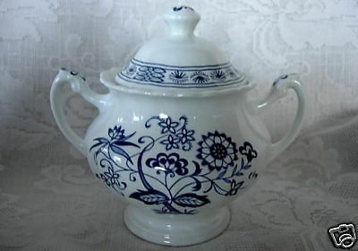 J.&G.MEAKIN Blue Nordic Sugar Bowl/Lid- Made in England
