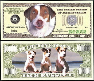 Lot Of 25 - Jack Russell Dog Million Dollar Bill