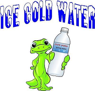 """Ice Cold Water Beverage Concession Food Truck Vinyl Sticker Sign Decal 14"""""""