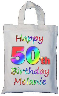 PERSONALISED 50TH BIRTHDAY Gift Cotton Tote Bag 50 Fabulous