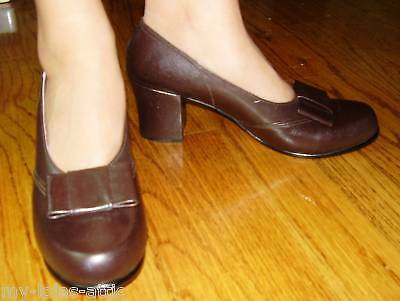 WWII USMCWR 1940 Women Bow Leather Pump Shoes Dk Brown