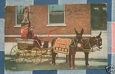 Old Postcard 1909 Mathie's Red Ribbon Beer Donkey Cart