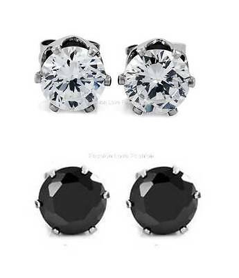 2 PAIR CZ ROUND CLEAR+BLACK MAGNETIC STUD EARRINGS 4MM ~ 8MM Men Women