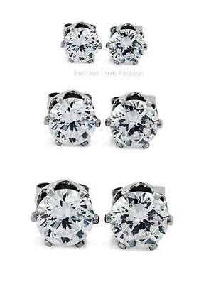 3 PAIRS,CLEAR,MAGNETIC STUD EARRINGS,ROUND/SQUARE 4~9MM Men Women