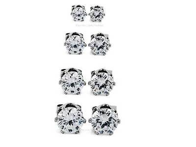 4 PAIRS CLEAR ROUND CZ EARRINGS MAGNETIC STUDS 4 TO 9MM Men Women