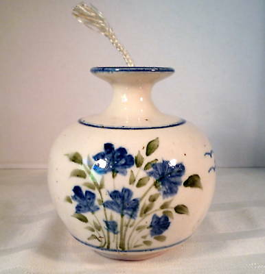 BLUE, GREEN & WHITE FLORAL CERAMIC OIL LAMP- VERY NICE