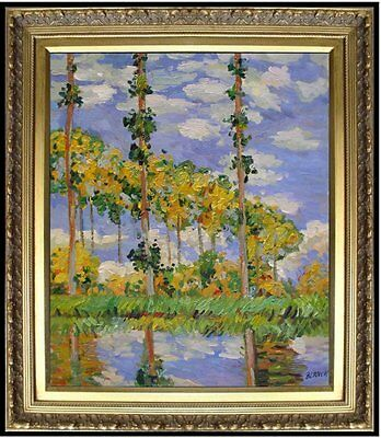 Framed Hand Painted Oil Painting Repro Claude Monet Poplars at Giverny 20x24in