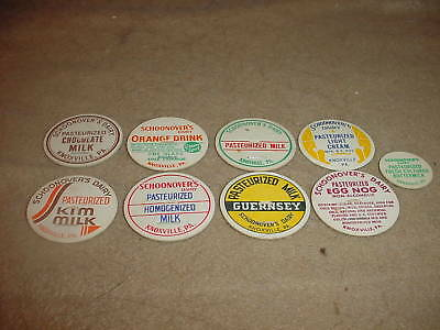 SCHOONOVER'S DAIRY KNOXVILLE PA BOTTLE LIDS 9 DIFFERENT