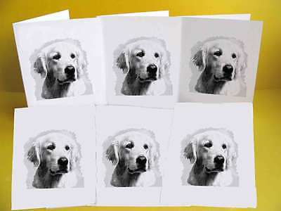 Golden Retriever Dog Notelets / Blank Cards pack of 6, A6