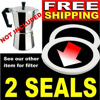 2x 3 Cup RUBBER SEALS = Stovetop Expresso Coffee Pot. Filter Gasket Espresso New