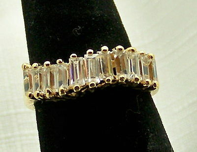 Gorgeous Estate White Stone Sterling Silver Vermeil Band Ring, Size 7