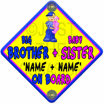 Yellow, pink & blue SUN BIG BROTHER + BABY SISTER Baby On Board Car Window Sign