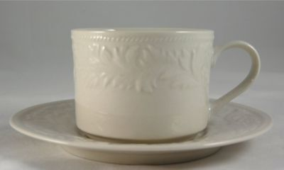 Sango GARLAND 8837 Flat Cup and Saucer Set 2.5 in. White Embossed Leaves Floral
