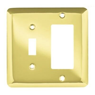 64364 Polished Brass Stamped Metal Switch/GFCI Cover Plate