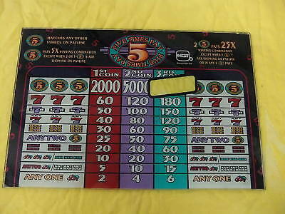 FIVE TIMES PAY 3 COIN~ IGT SLANT TOP SLOT MACHINE GLASS