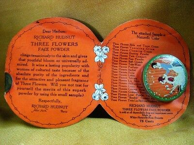 Vintage Richard Hudnut Three Flowers Face Powder Sample