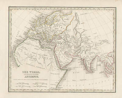 North Africa Europe Asia Map Vintage, 1835 by Bradford Original Antique Map