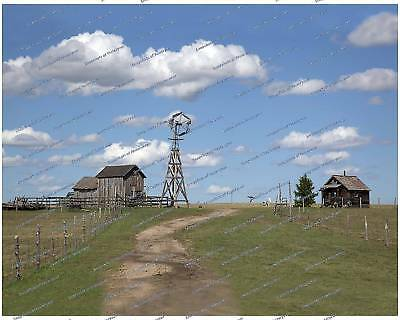 Old farm with antique windmill & barn - 8x10 photo