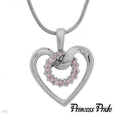 PRINCESS PRIDE Heart  Necklace With Cubic zirconia  Made in 925 Silver