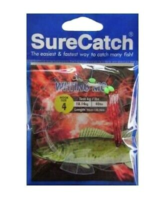 Surecatch Whiting Rig with Size 4 Chemically Sharpened Hooks and Lumo Beads