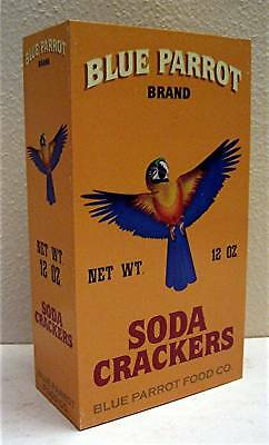 Blue Parrot Brand Soda Crackers Rustic Wood Box Sign