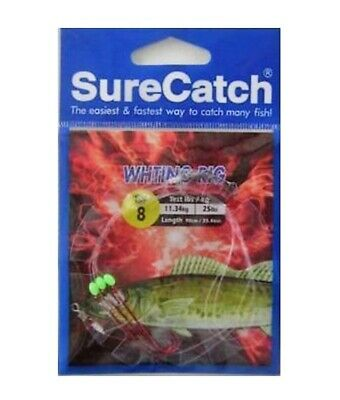 Surecatch Whiting Rig with Size 8 Chemically Sharpened Hooks and Lumo Beads