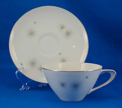Meito GALAXIE Flat Cup and Saucer Set 2.125 in. Gray Blue Starbursts
