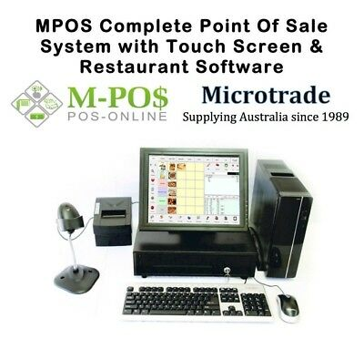 """New Point of Sale System, MPOS Restaurant Software, 15"""" Touch Screen LCD. Win10"""