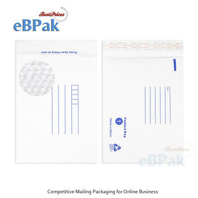 50x Bubble Envelope #01 160x230mm White Padded Bag - SIZE 01 White Kraft Mailer