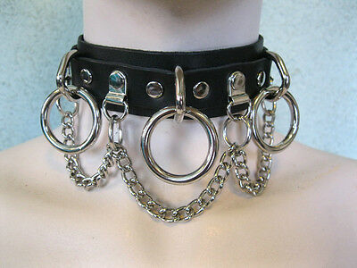 Black Leather Collar, Choker w/ 3 Large Rings + Chain