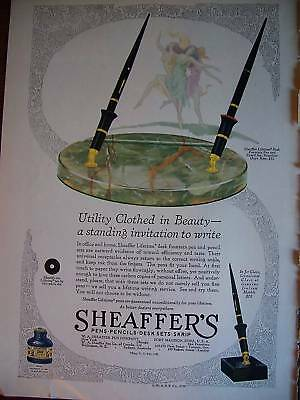 1929 Antique Sheaffer's Fountain Pen Clothed Beauty Ad