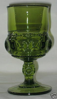 Indiana USA Kings Crown Pattern Olive Water Goblet