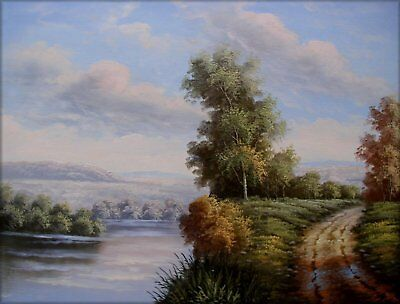 Quality Hand Painted Oil Painting Path and River in a Landscape 12x16in