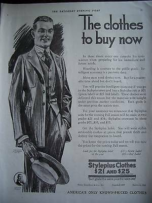 1918 Vintage Styleplus Mens Clothes Straw Hat Suit Ad