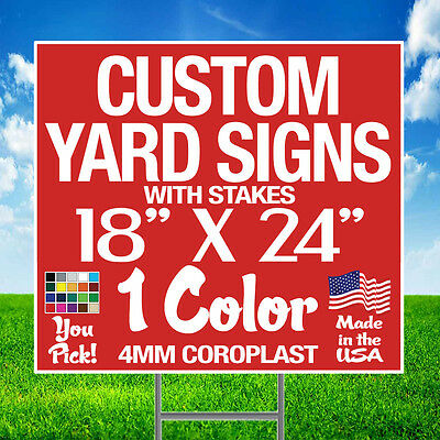 50 18x24 Yard Signs Custom Double Sided + Stakes